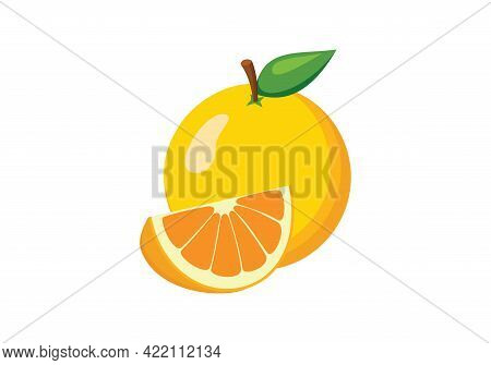 Juicy Orange On A White Background., Citrus Fruits With Orange Slices And Leaves Isolated On White B