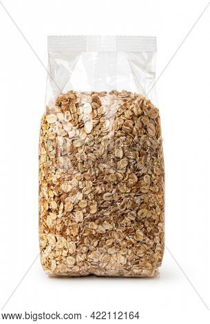 Plastic transparent bags with Oat flakes. isolated on white background.