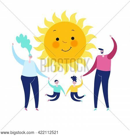 Family And Sun On A White Background