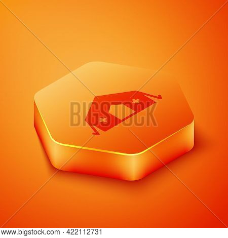 Isometric Military Medical Tent Providing First Aid To A Patient Icon Isolated On Orange Background.