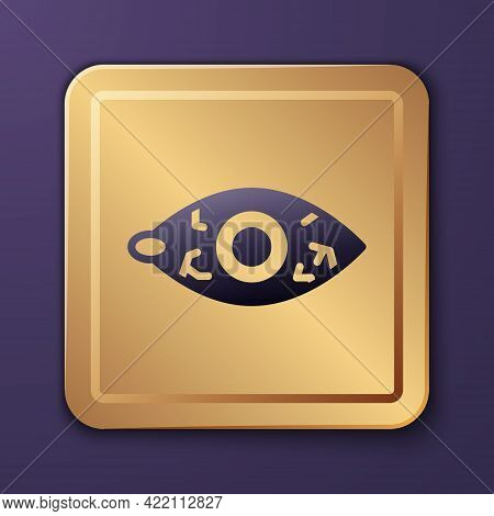 Purple Reddish Eye Due To Viral, Bacterial Or Allergic Conjunctivitis Icon Isolated On Purple Backgr