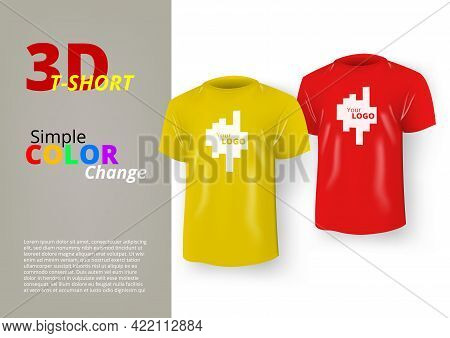 Mens Realistic Color T-shirt With Short Sleeve