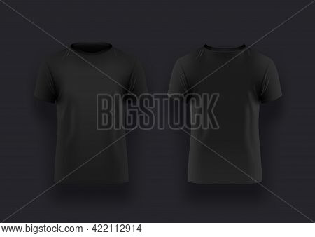 Mens Realistic Black T-shirt With Short Sleeve