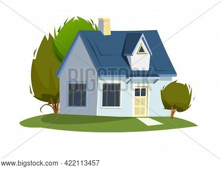 Rural House In The Meadow. Half Turn. Cheerful Cartoon Flat Style. Isolated On White Background. Gab