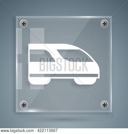White High-speed Train Icon Isolated On Grey Background. Railroad Travel And Railway Tourism. Subway