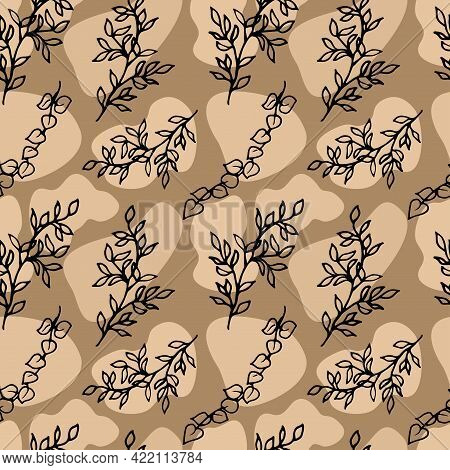 Abstract Seamless Pattern With Gravel And Tree Branches In Doodle Style. Random Geometric Pebble Wal