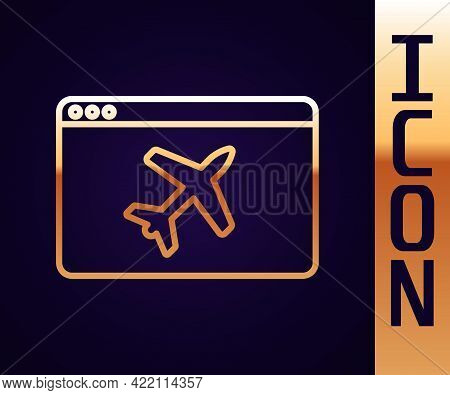 Gold Line Website Template Icon Isolated On Black Background. Internet Communication Protocol. Vecto