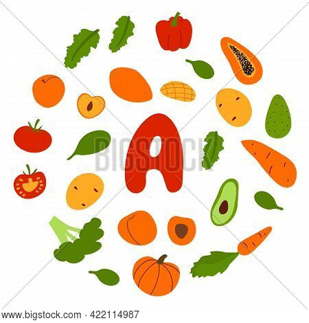 Vector Flat Hand Drawn Veggies And Fruits Rich In Vitamin A. Food Sources Of Beta-carotene For Vegan