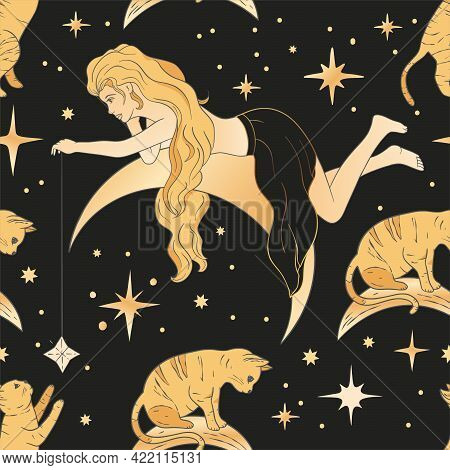 Celestial Blonde Beautiful Woman And Moon Esoteric Golden Seamless Pattern. Boho Astronomy Astrology