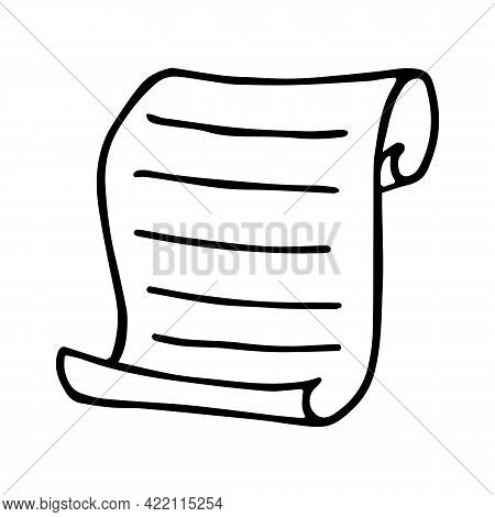 Paper Scroll In Doodle Style. Hand-drawn Papyrus With Text. Vector Illustration Isolated On White Ba