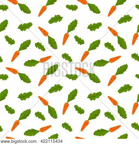 Vector Seamless Pattern With Hand Drawn Cartoon Carrot And Lettuce Leaf. Colorful Wallpaper In Cute