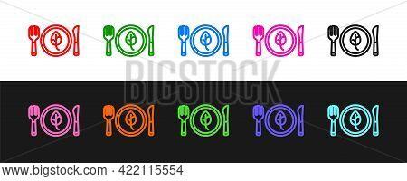Set Line Vegan Food Diet Icon Isolated Set Line Background. Organic, Bio, Eco Symbol. Vegan, No Meat