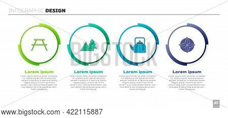 Set Picnic Table With Benches, Mountains Tree, Kettle Handle And Wind Rose. Business Infographic Tem