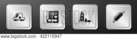 Set Collimator Sight, Book With Pistol Gun, Gun Magazine And Bullets And Trap Hunting Icon. Silver S