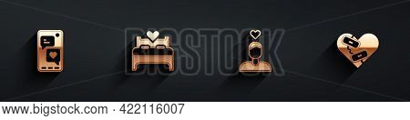 Set Mobile With Heart, Bedroom, Couple In Love And Healed Broken Icon With Long Shadow. Vector