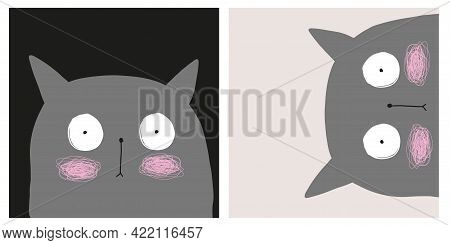 Cute Hand Drawn Cat With Big Eyes Vector Illustration Set. Lovely Nursery Art With Funny Kitty On A