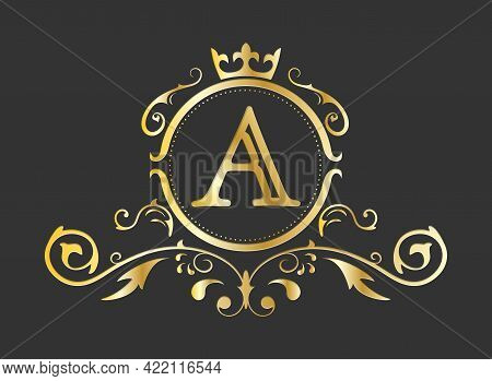 Golden Stylized Letter A Of The Latin Alphabet. Monogram Template With Ornament And Crown For Design