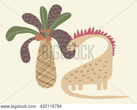 Cute Simple Vector Illustration With Dreamy Dinosaur And Coco Palm Isolated On A Cream Background. S