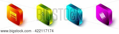 Set Isometric Bbq Brazier, Burning Match With Fire, Steak Meat And Grilled Pork Bbq Ribs Icon. Vecto