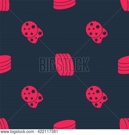 Set Cookie Or Biscuit And Brownie Chocolate Cake On Seamless Pattern. Vector