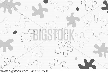Abstract White And Gray Doodles Design Of Free Hand Drawing Artwork Template. Space Of Minimal Style