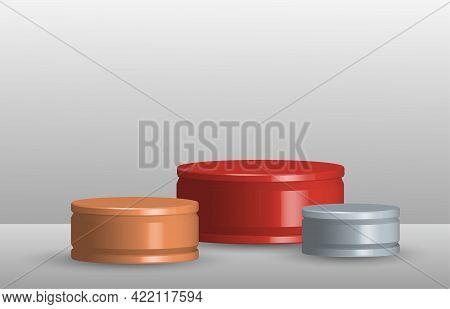Abstract Show Case Of Stage Podium 3d Rendering Design Of Ranking Stagement. Overlapping With Shade