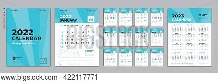 Set Desk Calendar 2022 Design, Calendar 2022 Template And Set Of 12 Months, Calendar 2023 Design Pos
