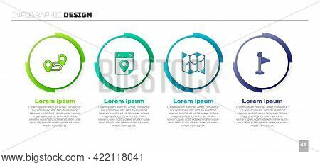 Set Route Location, Travel Planning Calendar, Folded Map And Location Marker. Business Infographic T