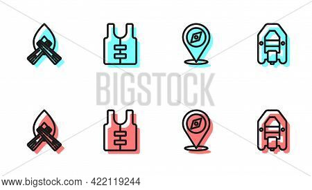 Set Line Compass, Campfire, Life Jacket And Rafting Boat Icon. Vector