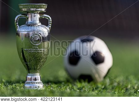 April 13, 2021 Moscow, Russia. The Uefa European Football Championship Cup On The Green Lawn Of The