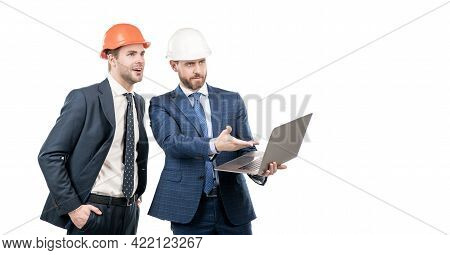 Two Business Men Investors With Computer Online Isolated On White Copy Space, Business Project.