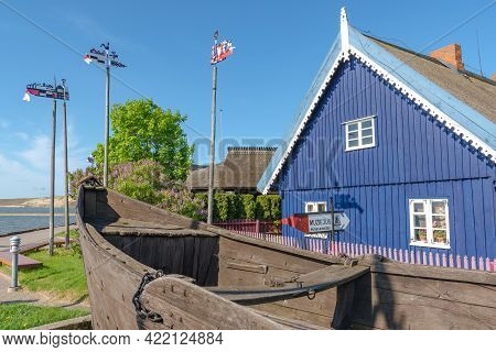 Nida, Lithuania - May 23 2021: Fisherman's Museum. Beautiful Old Lithuanian Traditional Wooden Blue