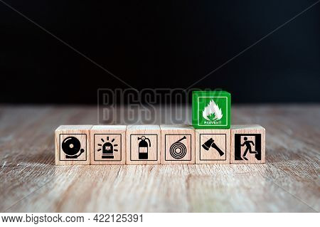 Fire, Cube Wooden Toy Block Stack With Prevent Icon With Fire Extinguisher And Door Exit And Fire Ho