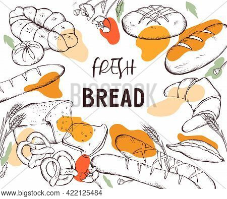 Banner Or Card Backdrop With Bread And Bakery Items, Hand Drawn Engraving Style Vector Illustration