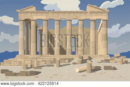 Monuments Of European Architecture. Athens. Parthenon. Acropolis. Vector.