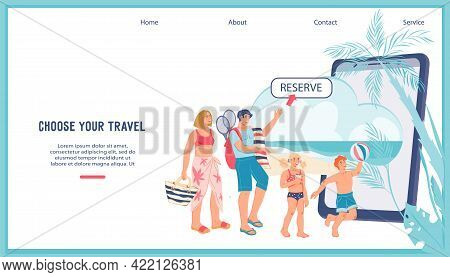 Online Booking Tickets And Hotels Website Banner Template With Family Arranging Vacation Via Mobile