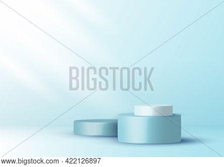 3d Realistic Elegant Display Blue And White Cylinder Pedestal Podium On Soft Blue Color Studio Room