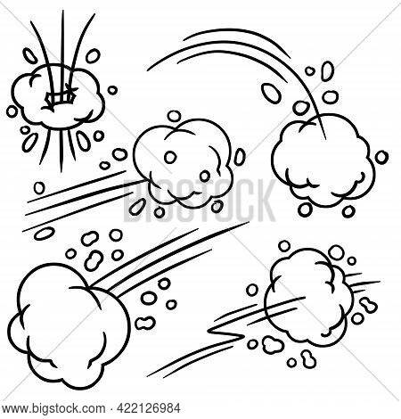 Effect Of Comic Speed. Funny Cloud Of Movement. Bubble Cloud. Track And Trace. Set Of Funny Smoke An