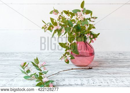 Blooming Summer Flowers, Branches Of Flowers In Glass Pink Vase On Wooden Vintage White Background .