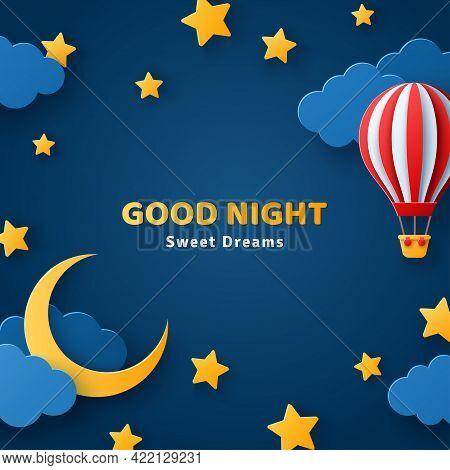 Fluffy Clouds On Dark Sky Background With Gold Moon Crescent, Stars And Red Hot Air Balloon. Vector