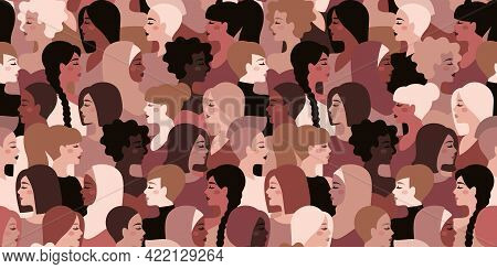 Different Nationality, Ethnicity And Hairstyle Girls Seamless Pattern. Vector Illustration. Internat