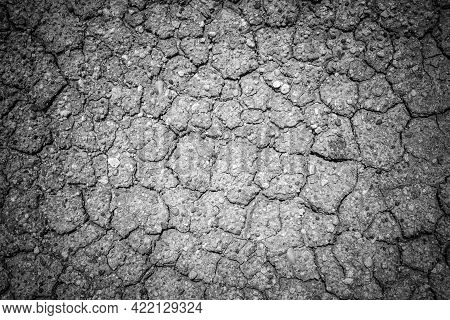 Black And White Image Of The Cracked Soil Surface Of The Arid Wasteland. The Surface Of The Earth Cr