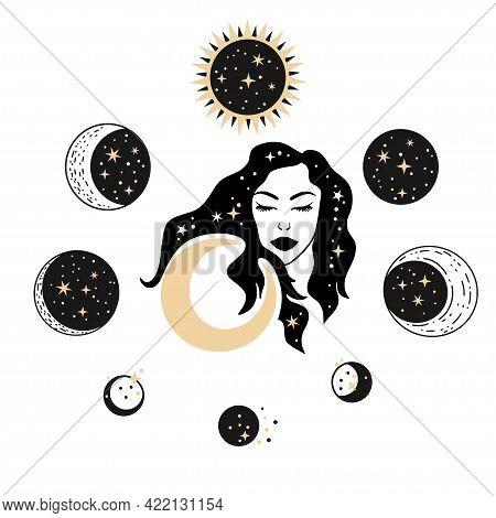 Celestial Woman Face With Moon Elements. Esoteric Magic Mystic Art. Female Boho Illustration.