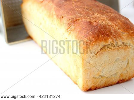 Homemade White Wheat Bread With A Crispy Crust. Baking With Hand-kneaded Yeast Dough.