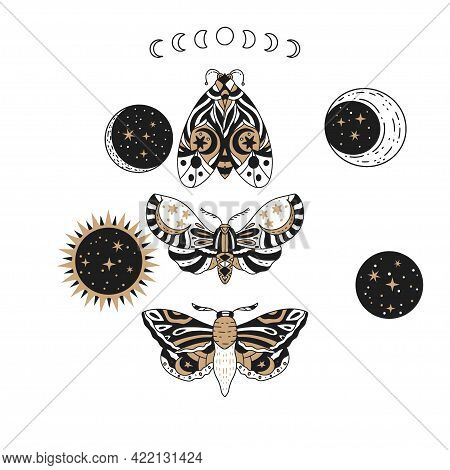 Boho Butterfly, Sun And Moon Vector Set. Beautiful Moth Vector Magic Ornament, Celestial Element Ill