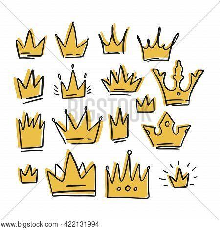 Doodle Crown Yellow Cartoon Queen Sketch Set. King Icon Illustration Design. Vector Princess Graphic