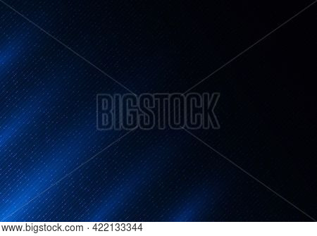 Abstract Blue Shiny Diagonal Lines And Dot Particles With Lighting On Dark Blue Background. Technolo