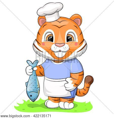 A Cute Chef Tiger In A Chef Hat And Apron Holds A Fish. Vector Illustration Of An Animal Isolated On