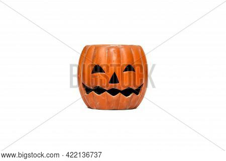 Earthenware Halloween Pumpkin Isolated On White Background