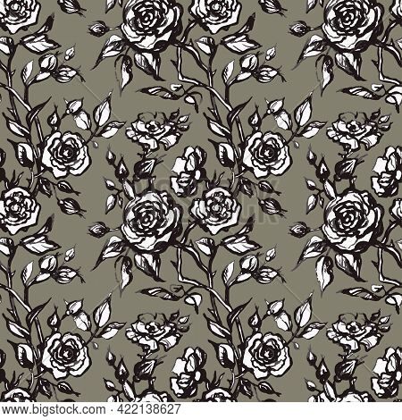 Vintage Vector Floral Seamless Pattern In Victorian Style With Flowers, Buds And Leaves Of Roses. Li